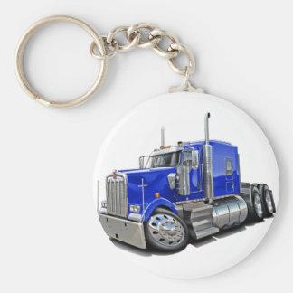 Kenworth w900 Blue Truck Basic Round Button Key Ring