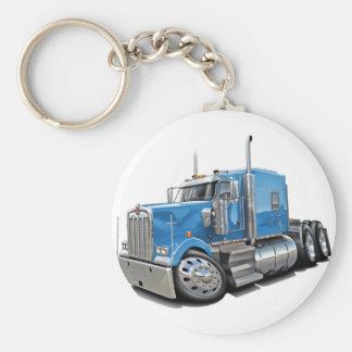 Kenworth w900 Lt Blue Truck Basic Round Button Key Ring