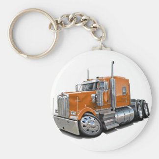Kenworth w900 Orange Truck Basic Round Button Key Ring