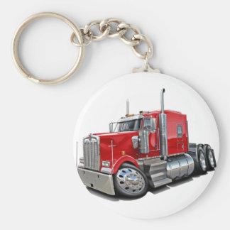 Kenworth w900 Red Truck Basic Round Button Key Ring