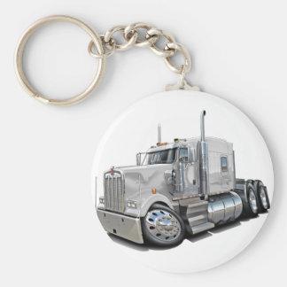 Kenworth w900 White Truck Basic Round Button Key Ring