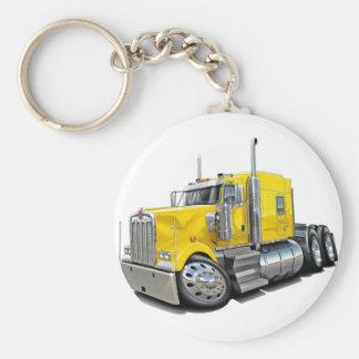 Kenworth w900 Yellow Truck Basic Round Button Key Ring