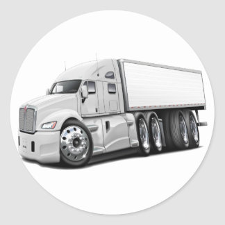 KenworthT700 White Truck Round Sticker