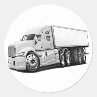 KenworthT700 White Truck Classic Round Sticker