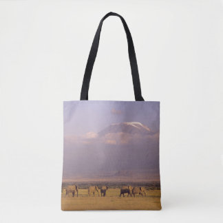 Kenya: Amboseli National Park, elephants Tote Bag