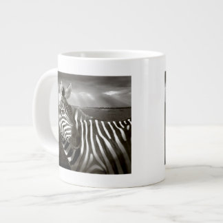 Kenya. Black & white of zebra and plain. Giant Coffee Mug