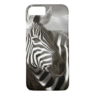 Kenya. Black & white of zebra and plain. iPhone 7 Case
