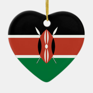 Kenya Flag Heart Christmas Ornament
