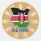 Kenya Flag Map 2.0 Classic Round Sticker