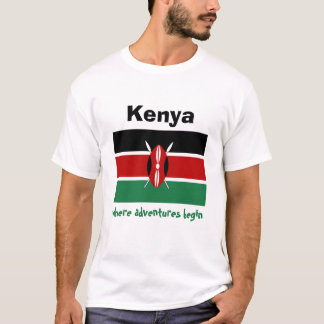 Kenya Flag + Map + Text T-Shirt