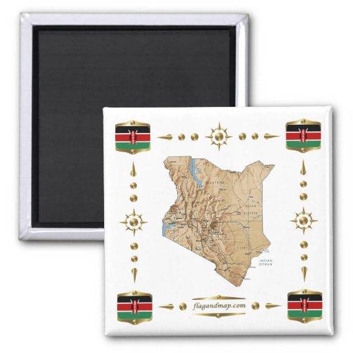 Kenya Map + Flags Magnet
