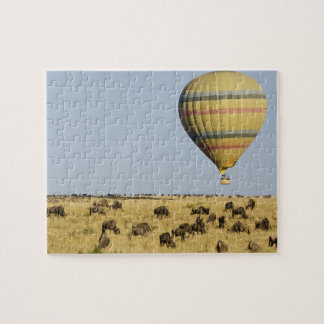 Kenya, Masai Mara. Tourists ride hot air balloon Jigsaw Puzzle