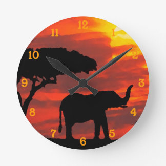 Kenya Safari Elephant Wildlife Sunset Watercolor Round Clock