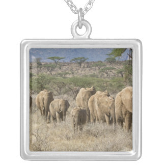Kenya, Samburu National Reserve. Elephants Silver Plated Necklace