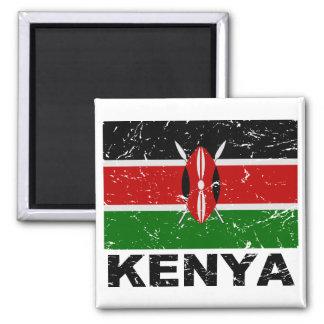 Kenya Vintage Flag Square Magnet