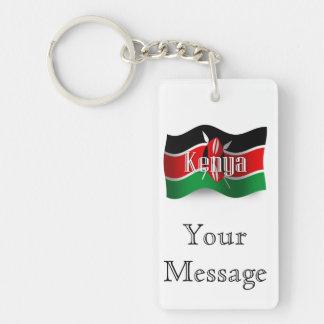 Kenya Waving Flag Double-Sided Rectangular Acrylic Key Ring