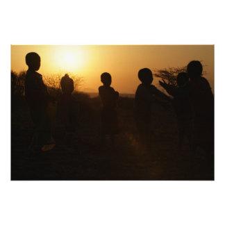 Kenyan African Children Sunset Silhouette Photo Print