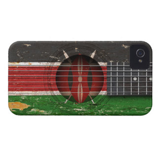 Kenyan Flag on Old Acoustic Guitar iPhone 4 Cover