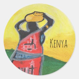 Kenyan Woman Round Sticker