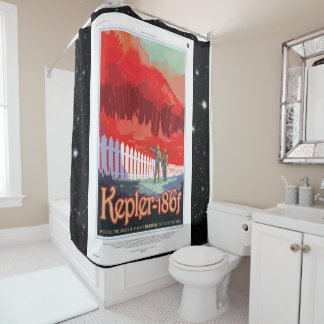 Kepler 186f Where the Grass is Alway Red vacation Shower Curtain
