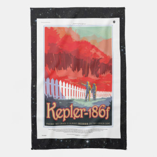 Kepler 186f Where the Grass is Alway Red vacation Tea Towel