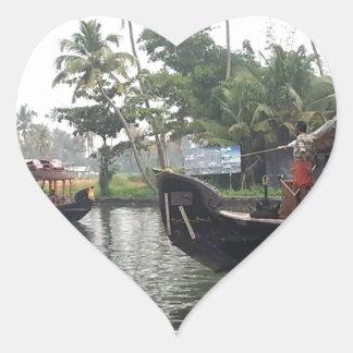 KERALA India RIVER Boats Heart Sticker