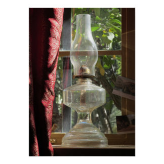 Kerosene Lamp in Window Poster