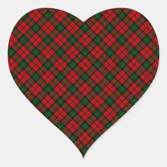 Kerr Scottish Clan Tartan Design Heart Sticker