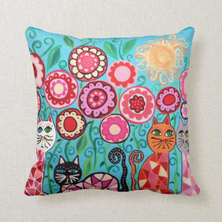Kerri Ambrosino Pillow Art Flowers Cats Sun Red