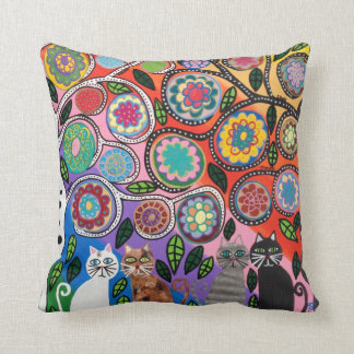 Kerri Ambrosino Pillow Art Tree of Life Cats
