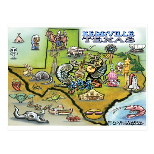 Kerrville TEXAS Map Tee Postcard
