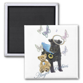 Kerry Blue Terrier Angel Baby Square Magnet