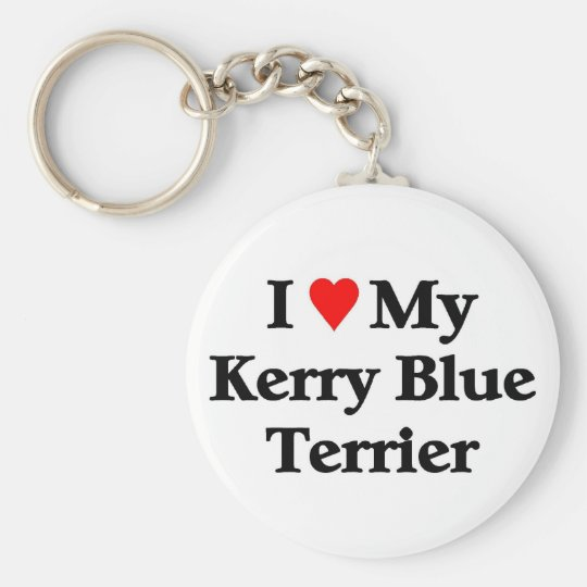 Kerry Blue Terrier Basic Round Button Key Ring