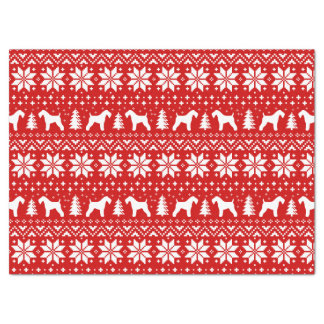 Kerry Blue Terrier Silhouettes Christmas Pattern Tissue Paper