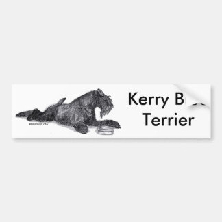 Kerry Blue Terrier with Bowl Bumper Sticker