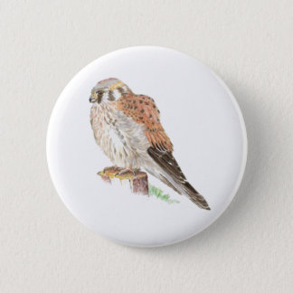 Kestrel Sparrow Hawk, Watercolor Bird 6 Cm Round Badge
