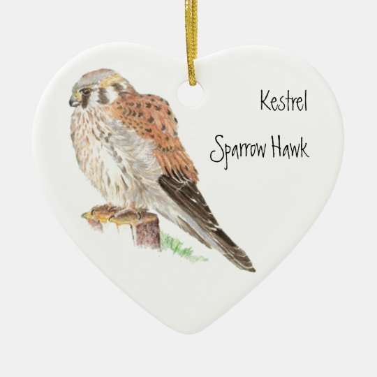 Kestrel Sparrow Hawk, Watercolor Bird Animal Christmas Ornament
