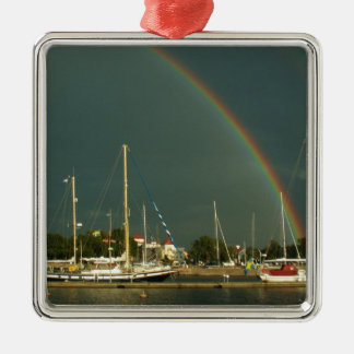 Ketch and Rainbow Silver-Colored Square Decoration