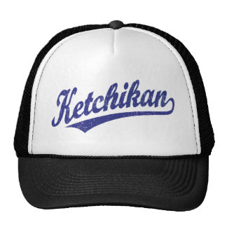 Ketchikan script logo in blue distressed cap