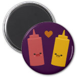 Ketchup & Mustard Friends 6 Cm Round Magnet