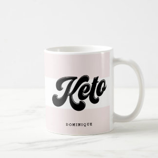 Keto Black Retro Script Typography Pink Stripes Coffee Mug