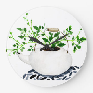 Kettle Potted Plant Wall Clocks