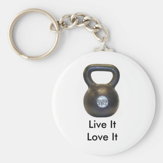 kettlebell, Live ItLove It Basic Round Button Key Ring