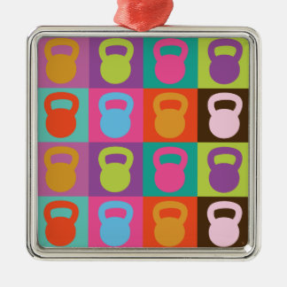 Kettlebell Pattern Silver-Colored Square Decoration