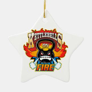 Kettlebells on fire christmas ornament