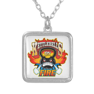 Kettlebells on fire square pendant necklace