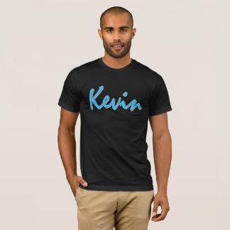 Kevin Blue Logo on Black T Shirt