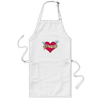 Kevin - Custom Heart Tattoo T-shirts & Gifts Long Apron