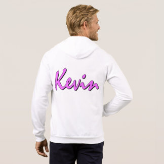 Kevin Pink Logo White Zipper Hoodie