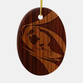 Kewalos Hawaiian Surfer Faux Wood Christmas Ornament